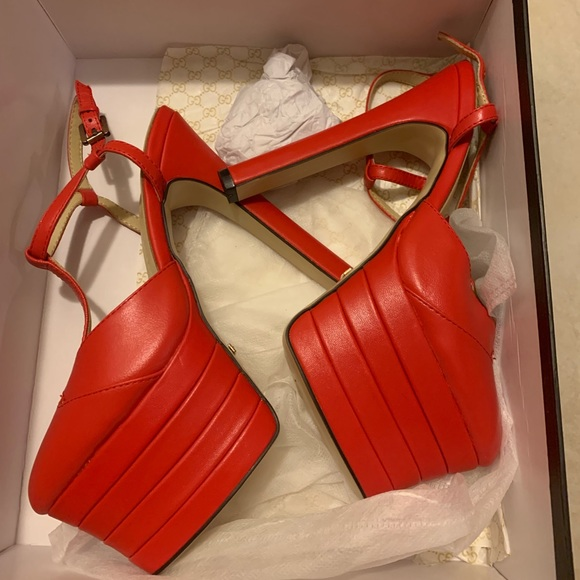 26ec71e6f Gucci Shoes   Angel Heel Red Stacked Platform   Poshmark
